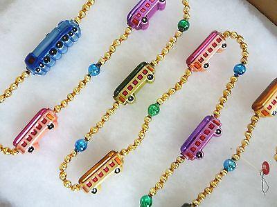 Vintage Xmas Mercury Glass Radko Locomotive Train Railroad Bead Garland Chain