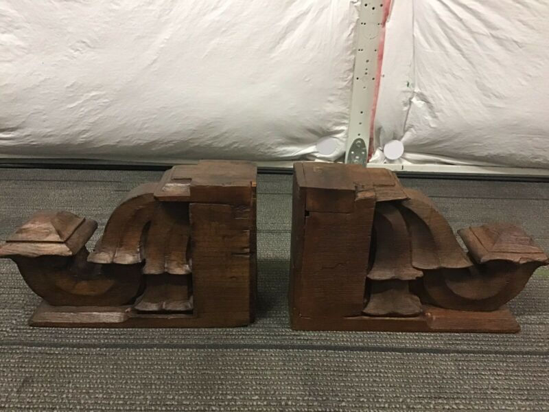 Antique Pair Of Vintage Wood Corbel Brackets Architectural Salvage Wall Decor
