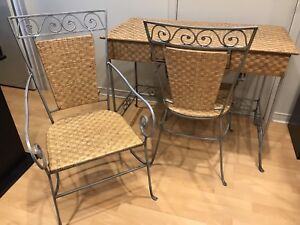 Metal framed rattan/wicker desk and 2 chairs (Pier 1)