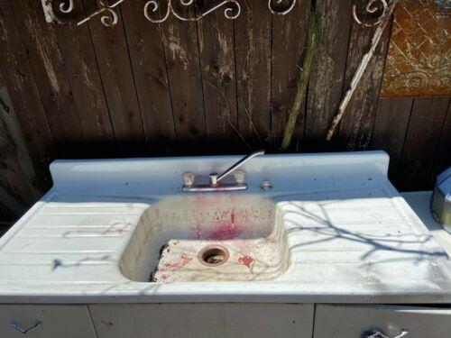 Vintage Steel White Porcelain Single Basin Double Drainboard Farm Sink