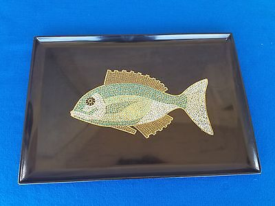 "VINTAGE COUROC OF MONTEREY MOSIAC FISH THEME PLATTER TRAY 18"" X 12 1/2"" NICE"