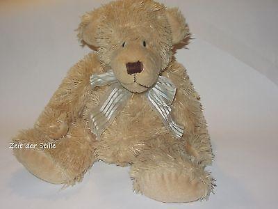 HEUNEC Bär Stofftier Teddy Teddybär beige Schleife Granulat ca. 28 cm sitzend