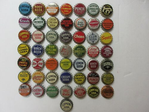50= OLD SODA BOTTLE CAPS=NICE CONDITION=NEVER USED=CORK LINED
