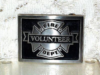 VINTAGE 1970s SAND CAST BRONZE VOLUNTEER FIRE DEPARTMENT BELT BUCKLE~FIREFIGHTER