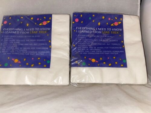 2 Packs 1993 Hallmark Everything I Learned From Star Trek Party Napkins-MIP