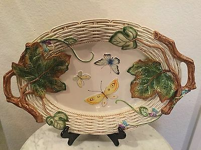 "Fitz & Floyd ""Old World Rabbits"" 19"" Oval Handled Serving Platter. Discontinued."
