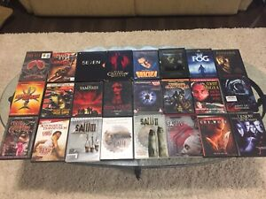 Horror DVDs, blu rays.  Some OOP