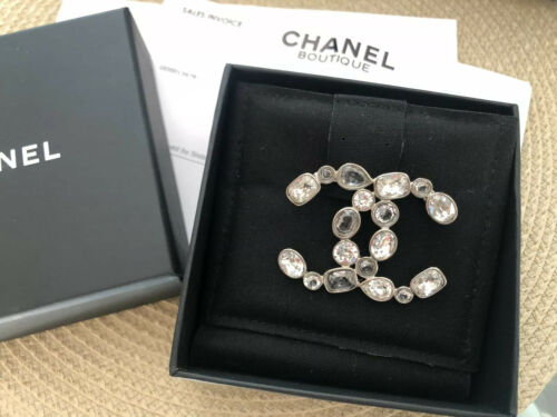CHANEL Clear Stone Silver Brooch