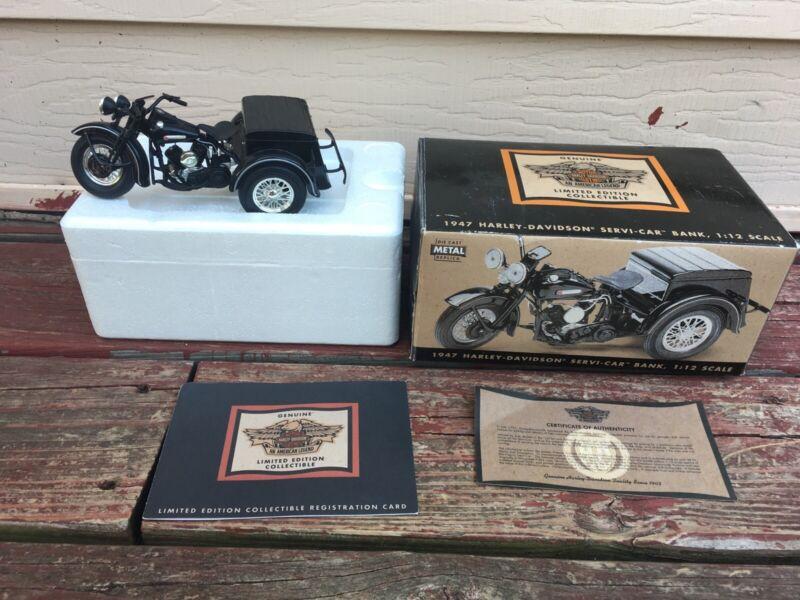 Genuine 1947 Harley Davidson Servi-car Trike Motorcycle 1:12 Scale Diecast Bank