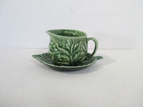 SylvaC Cabbage Leaf Pitcher Plate Vintage England Creamer Syrup Dark Green Set 2