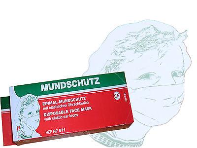 100 Stück  OP Maske 1-lagig, Papiermaske, Einmal-Mundschutz, Papiermasken