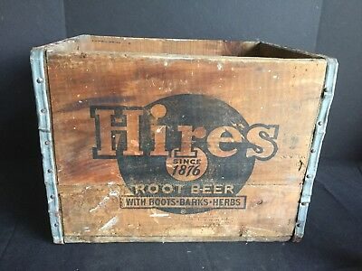 Antique Vintage Wooden Crate Advertising Hires Root Beer