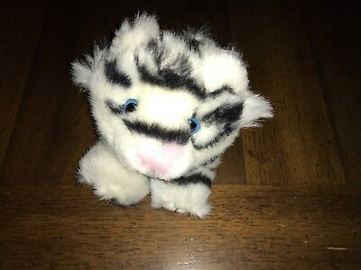"""Puffkins TASHA White Tiger Pink Nose Plush 4"""" Stuffed Animal Rare Missing tag"""