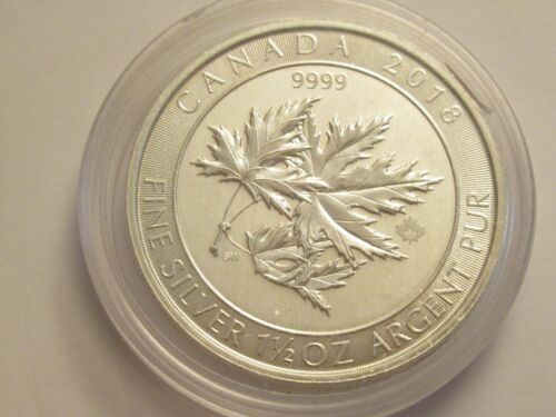 2018 Canada $8, 1 1/2 oz (one and a half) 9999 fine silver, Maple Leaf