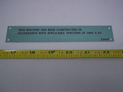 20661 Terex Forklift Plate
