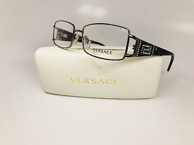 New Versace MOD 1163-B 1013 Rose Gold & Brown Eyeglass w/Crystals 52mm with Case