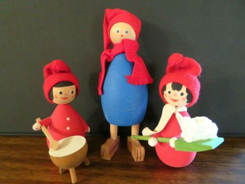 VTG LOT OF 3 HANDMADE SWEDEN WOOD XMAS ORNAMENTS WINTER FIGURINES, RED CAPS
