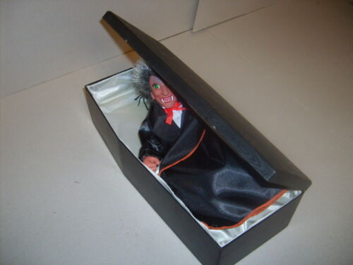 Vintage Animated DRACULA Vampire in Coffin Dracula Halloween Prop Figure