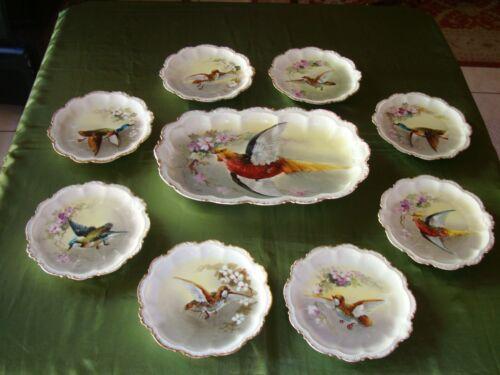 ANTIQUE LIMOGES CORONET HAND PAINTED PLATTER & 8 PLATES SET, BIRDS GAME, DUBOIS