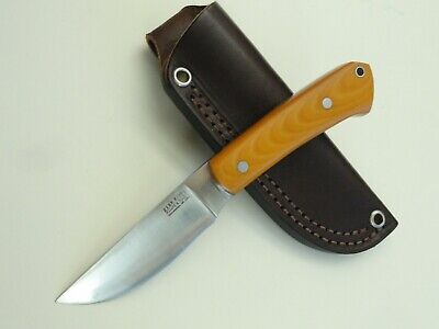 """BARK RIVER """"WOODLAND SPECIAL"""" OLD YELLOW MICARTA HUNTING KNIFE 210908"""