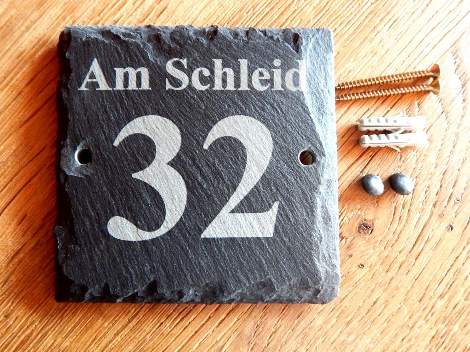 Hausnummer aus Schiefer,  130 x 130 mm, Schilder