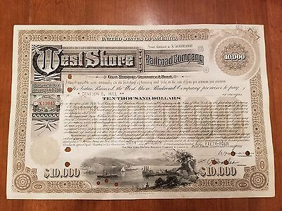 $10,000 West Shore Railroad Company Bond Stock Certificate New York Central