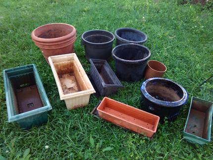 Assorted Plastic, Glazed,  Terracotta & Hanging Pots