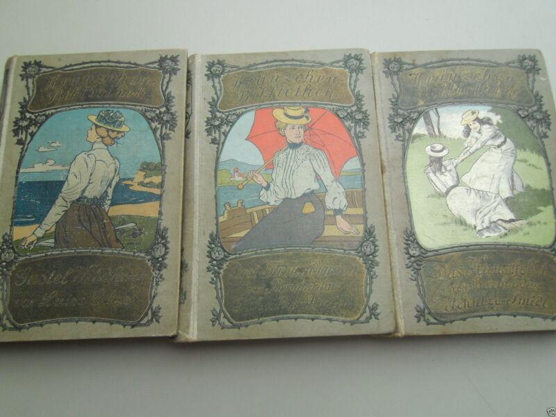 3x Kränzchen Bibliothek um 1900 Das Hansefeldt Drei Freundinnen Romane