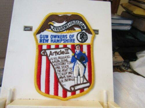 """Gun Owners of New Hampshire patch new Firearms = Freedom 2nd Amendment 6x5"""""""