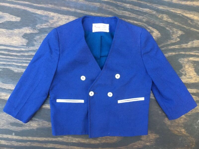 Vintage 1980s Boys Size 3T Navy Blue Jacket W/ Pockets Pearl Buttons
