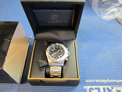 Akribos XXIV AK711SSB Chronograph GMT 50mm Case Black Dial Silvertone Mens Watch