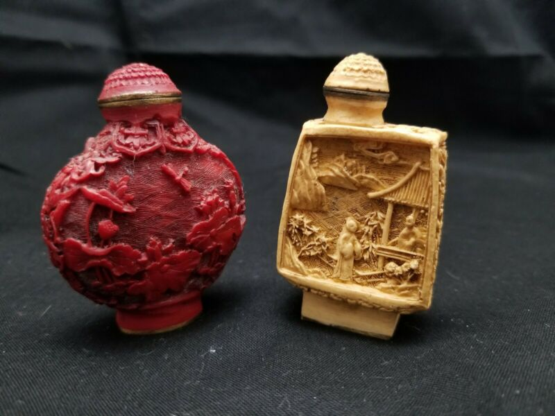 Vintage Asian Chinese Carved Snuff Bottles - Pair