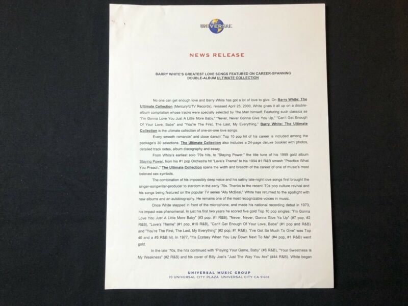 BARRY WHITE--2000 PRESS RELEASE ULTIMATE COLLECTION - $15.00