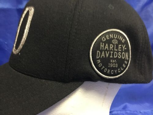 GENUINE HARLEY DAVIDSON Cap Hat Flex Fit L/XL Fitted 1903 Badge Logo Mint NWOT