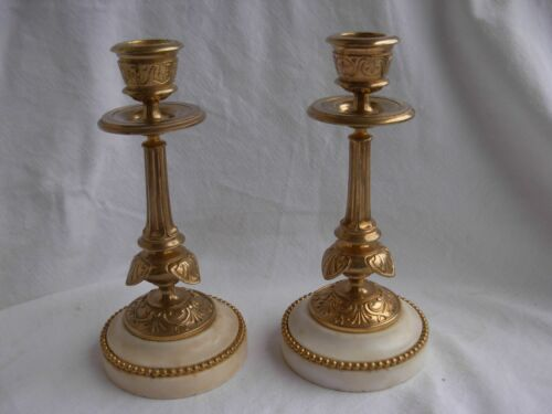 PAIR OF ANTIQUE FRENCH BRONZE MARBLE CANDLE HOLDERS,LOUIS 16 STYLE,19th CENTURY.