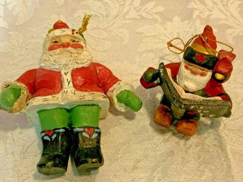 Vintage House Of Hatten 1996 Lot of 2 Christmas Santa Ornaments Denise Calla