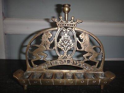 Antique Bronze Menorah Signed A. PINKUS 1897 Oil / Fat Lamp Lion of Judah Crown
