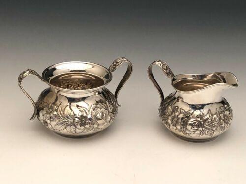 S. Kirk & Son Repousse Sterling Silver Creamer & Sugar Set # 418AF