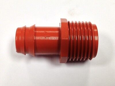 """17MM x 1/2"""" Male Pipe Adapter Barb Fitting 5 PACK, Drip Line Insert 0.54-0.65"""""""