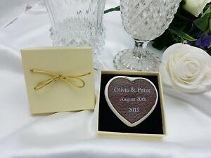 Genuine Leather Heart 3rd Wedding Anniversary Personalised Keepsake Gift Boxed