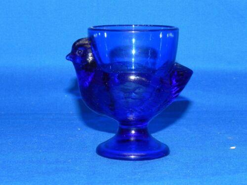 "Vintage Cobalt Blue Glass Chicken Hen Rooster Egg Cup Made in France 2.75"""