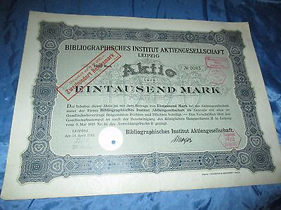 histor. AKTIE , Bibliographisches Institut AG LEIPZIG  1915 // 1000 Mark ,Nr. 83
