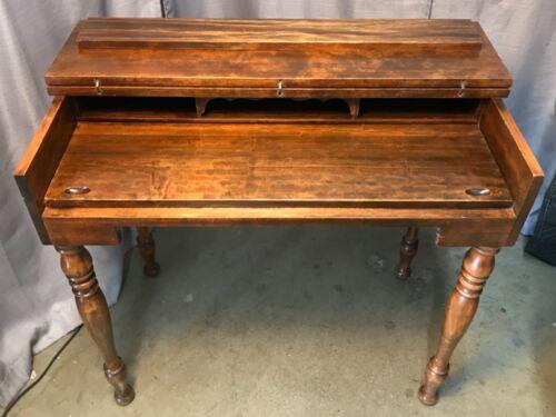 Antique Walnut Secretary Spinet Piano Desk Flip Top Writing Table