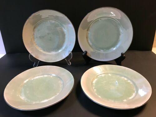 4 VINTAGE OREMONT BAVARIA GERMANY GREEN LUSTERWARE PLATES 7 3/4 DIA