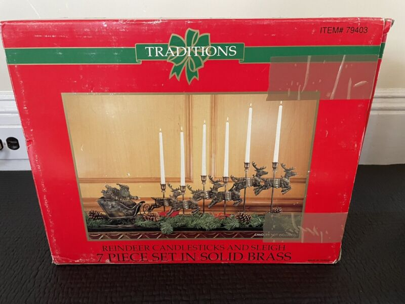 Traditions 7 pc. Reindeer Candle Sticks & Sleigh 7 Piece Set In Solid Brass