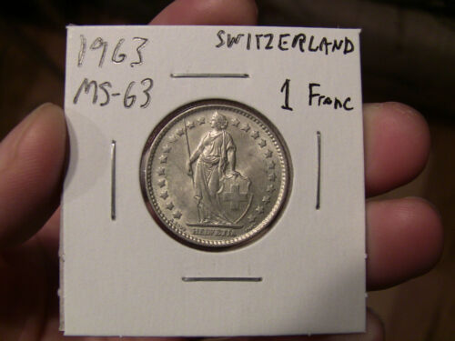 Uncirculated BU One Swiss Franc coin 1963 Switzerland