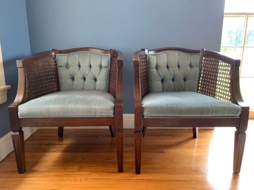 Set of four vintage cane barrel back chairs - mid-century with blue velvet