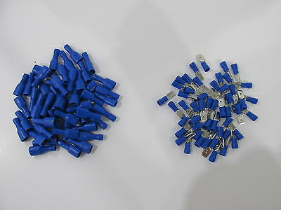 100 x blue spade connectors insulated crimp terminals for audiowires &electrical