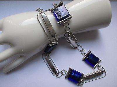 Extravagante Vintage Kette-Murano Glas-sehr ausgefallenes Design-MEMPHIS-Silber