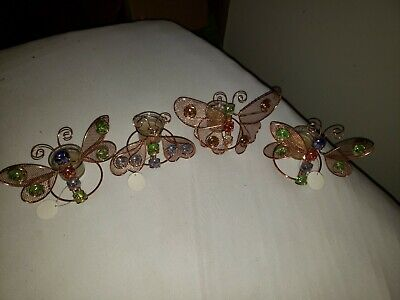 Lot Of 4 J.T.S. International  Butterfly And Dragonfly Votive Candle Holders